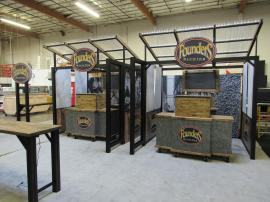 Modular Outdoor Serving Stations for a Brewery with Tables, Counters, Ceilings, and Graphics (ecoSmart Design)
